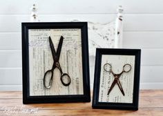 Antique Ephemera and Rusty Scissors Mixed Media Home Decor Vintage Displays via KnickofTime.net
