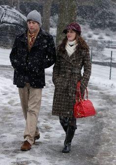 Blair Waldorf Fashion: 2x20 Remains of the J (BCBG MaxAzria plaid tweed coat, Isabella Adams quilted purse, and Kate Spade hat)
