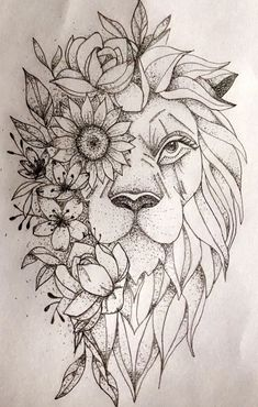 Flower Tattoo Drawings, Line Art Tattoos, Flower Tattoo Designs, Tattoo Designs For Women, Small Tattoos, Simple Lion Tattoo, Lioness Tattoo Design, Lion Head Tattoos, Tatoos