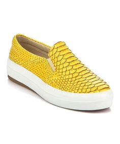 This Yellow Scale-Embossed Slip-On Sneaker is perfect! #zulilyfinds
