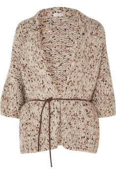 Brunello Cucinelli - Belted sequined chunky-knit cardigan Brunello Cucinelli - Belted Sequined Chunky-knit Cardigan - Beige Always wanted to figure out how to knit, yet unsure wh. Belted Cardigan, Chunky Knit Cardigan, Oversized Cardigan, Chunky Yarn, Cardigan Fashion, Knit Fashion, Guerilla Knitting, Knitted Shawls, Brunello Cucinelli