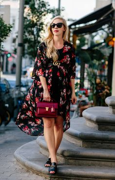 Dark Floral Print for Fall: floral print kimono with Gucci Marmont belt, Saint Laurent red handbag, Gucci slide sandals, how to wear floral print for fall, maternity style with kimono