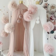 LARGE Double Pom Pom Canopy Decor Accessory Garlands - 2019 Great Selection: Bed Canopy, Baby Clothes, Infant Bodysuit Sets, Nursery, Playroom Decor Up to - Baby Girl Room Decor, Baby Bedroom, Nursery Room, Kids Bedroom, Girls Bedroom Decorating, Bed Room, Master Bedroom, Tulle Poms, Pom Poms