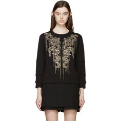 Alexander McQueen Black Fringed Sequin Pullover ($1,740) ❤ liked on Polyvore featuring tops, sweaters, sequin sweater, long sleeve fringe top, alexander mcqueen sweater, fringe top and pullover sweater