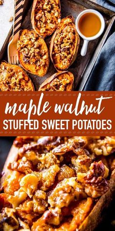 Twice Baked Sweet Potatoes with Maple and Walnuts | Savory Nothings
