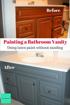 Painting cabinets on a bathroom vanity with latex paint can be quick and easy following these simple steps.