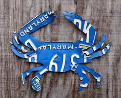Upcycled Vintage Blue Maryland License Plate Crab by LicenseToCraft, $38.00
