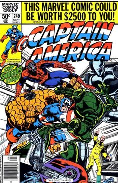 Captain America #249 cover by John Byrne & Joe Rubinstein & Bob Sharen. 1980.