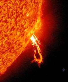 A large and beautiful solar prominence captured by NASA's Solar Dynamics Observatory (SDO) spacecraft on June Scale size of Earth is shown at lower right. (Credit: NASA/SDO, AIA, EVE, and HMI science teams; Hubble Photos, Hubble Images, Galaxy Photos, Planets And Moons, Whirlpool Galaxy, Star Formation, Space Planets, Hubble Space Telescope, Space Images