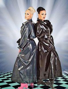 Grey and Black PVC Raincoats