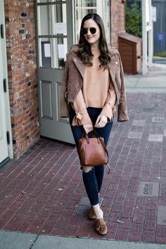 Tie Sleeve Sweater | Fall Style | Sweater Weather | Tan Sweater Outfit | Fall Outfit Inspiration | Fall Outfits | Neutral Style | Suede Moto Jacket Outfit | Casual Brown Suede Jacket Outfit
