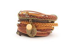 Mustard Brown Tangerine Yoga Wrap Bracelet Tree of by cardioceras