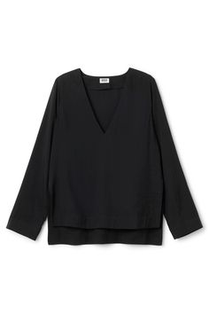 the perfect black, v-necked blouse. from weekday