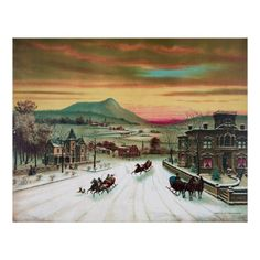 Winter in the Country - 19th century upper class rural scene; large homes, town in distance, twilight, horses, sleighs, people walking; ithograph illustration, Printed and Published by Joseph Hoover, 1885 (https://twitter.com/HawCreekShop/status/532721291976249344) (http://haw-creek.com/shop/winter-in-the-country/)