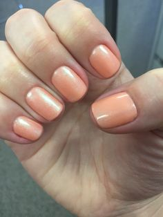 CND Shellac- Salmon Run layered with Iced Coral