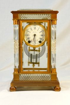 "Antique Seth Thomas ""Empire No. Classic Clocks, Glass Repair, Sundial, Antique Clocks, Side Plates, Beveled Glass, Antique Glass, The Collector, Cut Glass"