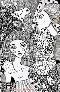 We build too many walls doodle Zentangle Drawings, Doodles Zentangles, Doodle Drawings, Pencil Art Drawings, Drawing Sketches, Sketching, Face Doodles, Doodle Art Designs, Powerful Art