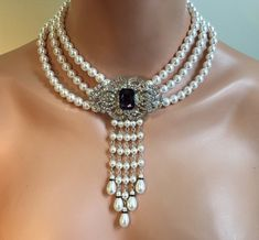 Victorian Pearl Necklace with Backdrop and Brooch in Purple Rhinestone 3 multi strands Swarovski pearls Art Deco Great Gatsby bridal wedding Pearl Necklace Set, Dainty Diamond Necklace, Pearl Jewelry, Indian Jewelry, Beaded Jewelry, Jewelery, Silver Jewelry, Bridal Earrings, Wedding Jewelry