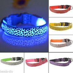 BD Safety Nylon Pet LED Dog Collar Glow LED Light Flashing Leopard Pet Collar