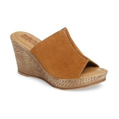 Women's Bella Vita Wedge Slide Sandal ($67) ❤ liked on Polyvore featuring shoes, sandals, tobacco suede, wedge slide sandals, wedge sandals, slide sandals, embellished sandals and suede wedge shoes