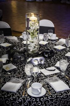 Black White Masquerade Table Setting Events By Vento Decoration, Decoration İdeas Party, Decoration İdeas, Decorations For Home, Decorations For Bedroom, Decoration For Ganpati, Decoration Room, Decoration İdeas Party Birthday. #decoration #decorationideas