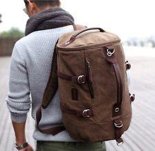 Novelty Brown Men's Vintage Canvas Shoulders Bag Hiking Bag Backpack Camping Bag