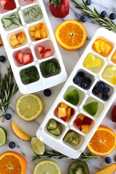 Getting bored with the taste of just plain old water? Fruit infused ice cubes are a GREAT little time saver and adds natural variety easily. Fruit Ice Cubes, Flavored Ice Cubes, Oven Dried Strawberries, Yogurt Dessert, Dessert Aux Fruits, Fruit Infused Water, Strawberry Recipes, Food Hacks, Hacks Diy