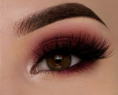 Dark red eye makeup