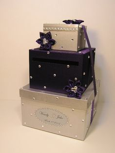 Wedding Gift Card Box With Lock Uk : Silver and Purple Wedding Card Box Gift Card Box Money Box Holder ...