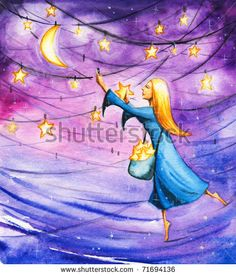 Night Hanging Stars On The Sky.Picture I Have Created With Watercolors. Stock Photo 71694136 : Shutterstock