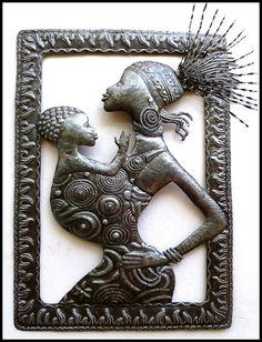 """Metal Ethnic African Wall Hanging - Haitian Steel Drum Art - 34"""""""