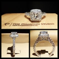 How insanely beautiful is this latest @diamondboi vintage ring. This design was made with a 1.22ct princess cut diamond. The diamond sits on a tight cushion shaped prong set halo. The shank features diamonds in an Italian pave. The gallery incorporates beautiful vintage work. #diamond #diamonds #wedding #weddings #engagement #ring #rings #bride #brides #jewellery #jewelry #halo #vintage #diamondboi