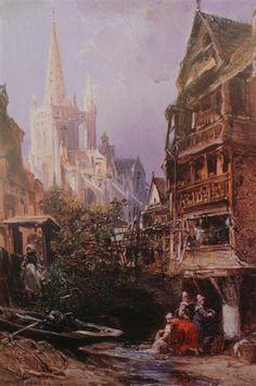NOEL Jules ( 1815 / 1881 )  Rue animée à Morlaix .