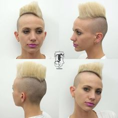 Angled Flattop Mohawk with Blonde Crimped Length Female Mohawk, Blonde Updo, Girl Haircuts, Hairstyles Haircuts, Pompadour Hairstyle, Crazy Hair, Latest Hairstyles, Bad Hair, Hair Art