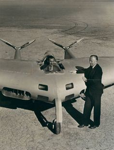 Northrop N-1M, a flying wing in 1941 with designer Jack Northrop standing by.