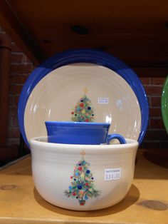 Lapis with Fiestaware Christmas dishes.