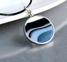 OOAK Black Swirl - Reversible Stained Glass Necklace. Starting at $1 on Tophatter.com!