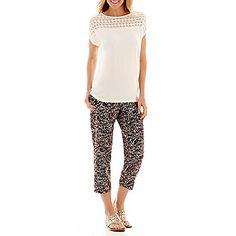 Liz Claiborne® Crochet T-Shirt or Print Soft Pants found at Crochet T Shirts, Soft Pants, Liz Claiborne, Capri Pants, Fine Jewelry, Mom, Clothes, Fashion, Outfit