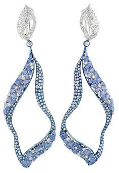 Miiori sapphire and diamond earrings set in titanium and white gold
