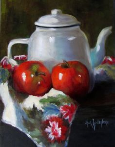 Dancing Brush - Art by Cheri Wollenberg: Apples and White Enamelware Pitcher