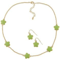 Zirconmania 610S-255LG-16G Goldtone Green Enamel Daisy Necklace and Earring Set -16 inches Zirconmania. $33.00. Save 26%!