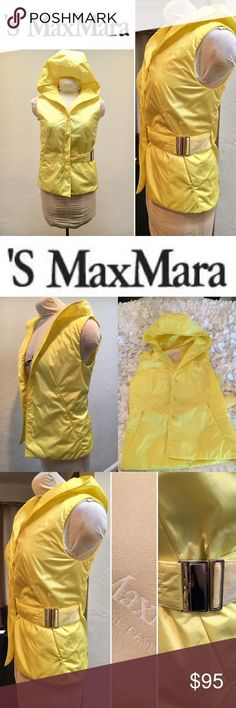 """'S MAX MARA HOODED BELTED VEST YELLOW SZ 6 Pre owned, gently worn and in very good condition. No rips or odors. Color is yellow. The belt is removable. Weaves inside and out on one for an asymmetric look. Slightly padded. Two side slant zippered pockets. 100% polyester. Button front. Super cute as a shirt vest as well as a lightweight outer layer. Armpit to armpit flat side to side: 18"""" length from top of shoulder to bottom of vest:   24 1/4"""" Shoulder to shoulder at widest: 15 1/2"""" OFFERS…"""