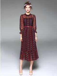 Resort Red Print Puff Sleeve Mock Neck With Belt Ruffle Hem Midi Dress