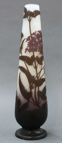 Lot: Emile Galle Art Nouveau tall cameo glass vase, Lot Number: 6003, Starting Bid: $500, Auctioneer: Clars Auction Gallery, Auction: November Fine Art & Antique Auction, Day 2, Date: November 10th, 2013 EST