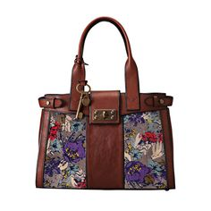 Fossil Vintage Re-Issue Dark Floral Large Satchel Fossil Handbags, Fossil Bags, Satchel Handbags, Soft Leather Handbags, Leather Purses, Cute Purses, Purses And Bags, Fossil Satchel, Fitness Gifts
