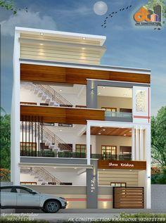 Duplex House Design, House Front Design, Dream Home Design, Cool House Designs, Building Elevation, House Elevation, Residential Building Design, Front Elevation Designs, Bungalow Exterior