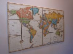 Creative Juices for Decor: World Map Inspiration on canvas from a reader (old world map art).I may not have an old world map, but I could easily buy one, but I do have another map that I might be able to use. Large Canvas Wall Art, Map Canvas, Canvas Wall Decor, World Map Art, Old World Maps, Map Crafts, Map Wall Art, Do It Yourself Home, Of Wallpaper