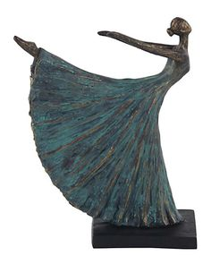 The DecMode Rustic Polystone Dancer In Arabesque Sculpture has an antiquated look with a weathered turquoise and bronze finish. This elegant sculpture. Paper Mache Sculpture, Sculpture Art, Sculptures, Finger Curls, Wire Art, Arabesque, Clay Art, Ceramic Art, New Art