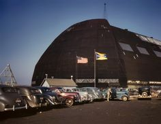 Goodyear Airdock. Akron, Ohio, 1941. Since this is near the Rubberbowl, I spent many an hour drunk in it's shadow.