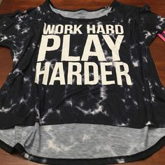 NWT Work Hard Play Harder Workout Tee Brand is Material Girl Active from Macy's. Graphic Tee with tie dye background. 95% polyester, 5% spandex. smoke-free home  no trades please like to make an offer?.. Please use the offer button  Material Girl Tops Tees - Short Sleeve